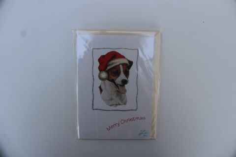 JACK RUSSELL CHRISTMAS GREETINGS CARD GLITTER